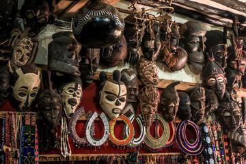 Poster Zanzibar African masks on the market in Stone Town, Zanzibar, Tanzania