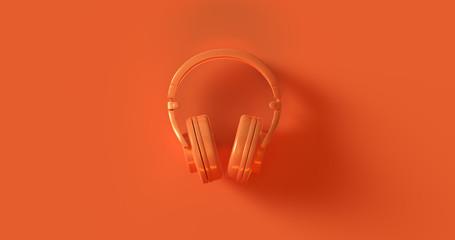 Orange Headphones 3d illustration