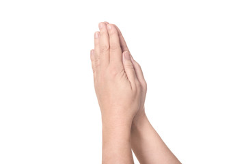 Two praying hands from left to right with bare arms - concept relegion faith prayer church god Christianity Jesus Christ - solated on white background with copy space