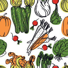 Food Collection Delicious spring salad with courgettes and carrots Seamless pattern