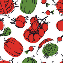 Food Collection Delicious spring salad with radishes, tomatoes and pepper Seamless pattern
