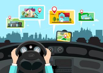 Car Navigation with City Public Buildings Map - Vector