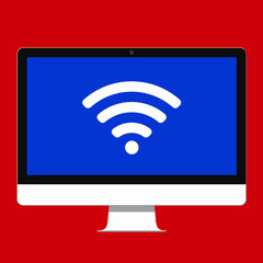 Modern electronic device - flat design monitor or All-in-one-PC vector illustration with wifi sign on the screen isolated on background.  Technology concept wi-fi wireless signal to home. Flat style.