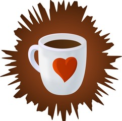 Vector coffee cup with heart with brown splash on white background