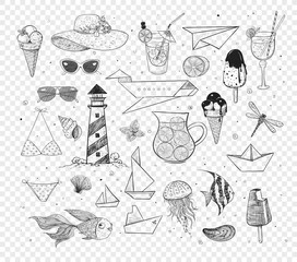 Collection of summer doodles