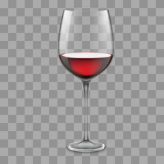 Transparent vector wineglass with red wine.