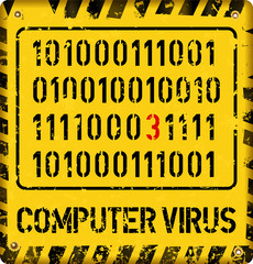 computer virus alert sign, internet security concept, grungy style vector
