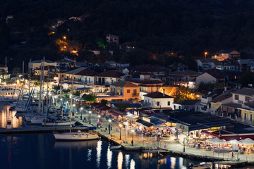 Panorama of the center of the town of Sivota in Greece