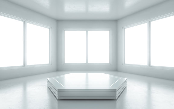 Podium in the middle of the empty room with window for presentation. 3d illustration