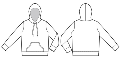 Hood hoodie fashion vector illustration flat sketches template