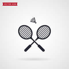 Badminton rackets and shuttlecock. Vector icon.