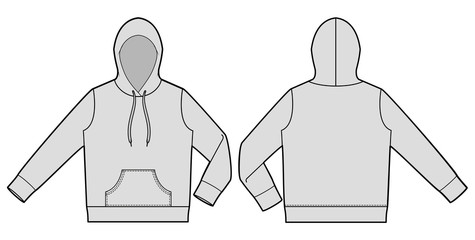 Hood hoodie fashion flat technical drawing template