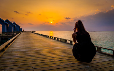 Taking sunset photo in Maldives