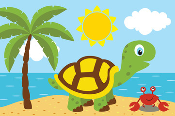 turtle with cancer on the beach - vector illustration, eps