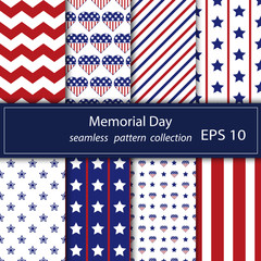 Set of stars and stripes seamless patterns. USA Independence day festive vector repeatable textures based on american flag.