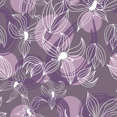 Seamless hand drawn floral vector pattern on free hand drawn background.
