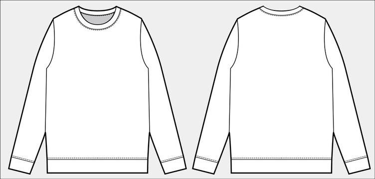 Sweatshirt Top fashion flat technical drawing template