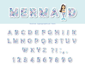 Mermaid scale font. For birthday cards, posters. Vector illustration