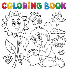 Door stickers For Kids Coloring book boy gardening theme 1