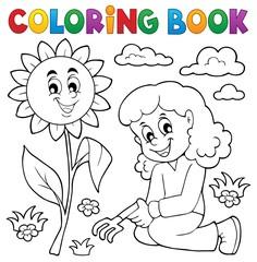 Coloring book girl gardening theme 1