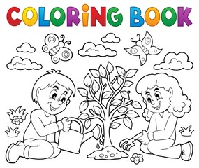 Canvas Prints For Kids Coloring book kids planting tree