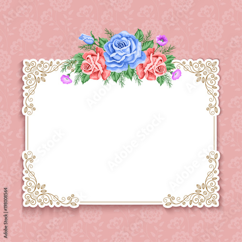 Invitation Or Greeting Card Template With Roses In Retro Style