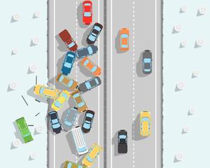 Many cars skidded on a slippery road. Vector illustration