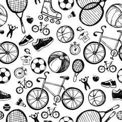 Sport sketch pattern. Hand drawn