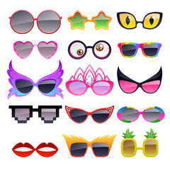 Set of colorful party sunglasses icons.