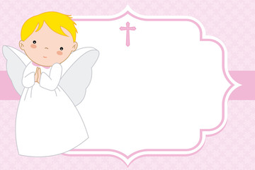 angel girl. Christening or communion card. space for text