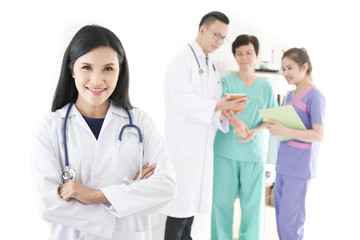 Asian doctor group standing in hospital