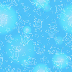 Seamless pattern with funny cartoon pigs , white outline on a  blue background