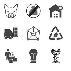 Set Of 9 simple editable icons such as cell tower, hypothesis, inventory, waste management, inclusion, inventory, warehouse, no image available, french bulldog