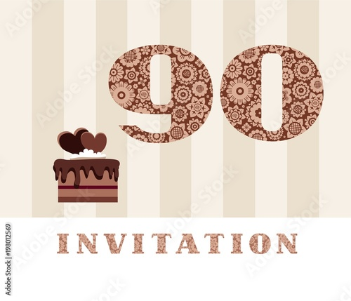 The Invitation 35 Years Old Chocolate Cake Heart Shaped Vector To Birthday Party Wedding Anniversary Color Card