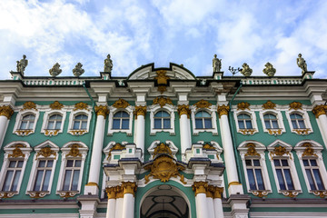 Facade of Winter Palace in St. Petersburg Russia.