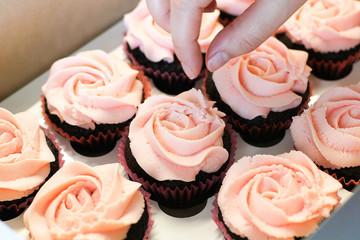 Cream caramel homemade cupcake in box
