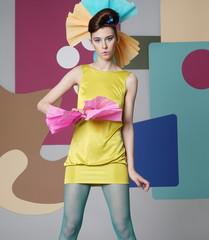 Portrait of a dancing girl in a short dress