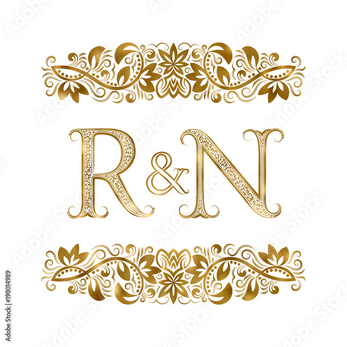 R And N Vintage Initials Logo Symbol The Letters Are Surrounded By