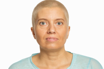Bald woman, close-up, isolated
