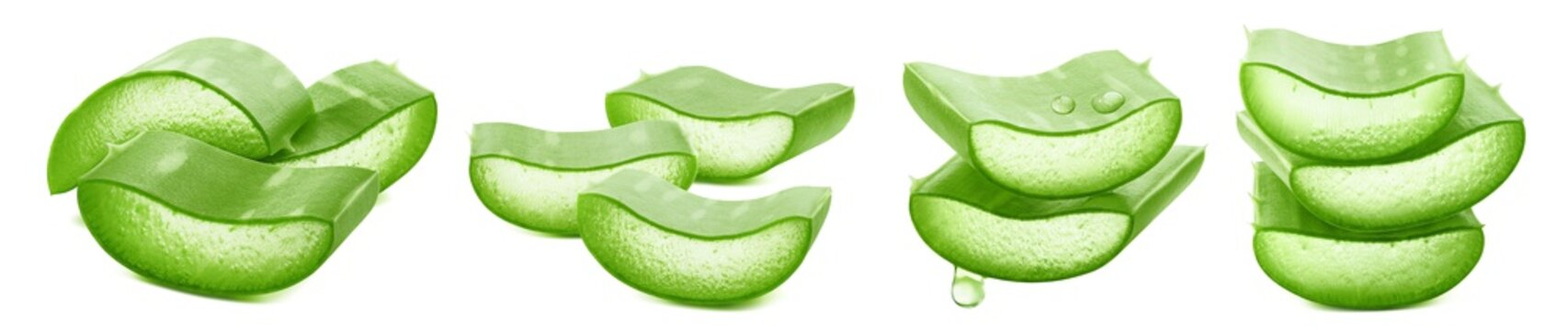 Sliced aloe vera horizontal collection isolated on white background