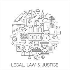 Legal, law and justice in circle - concept line illustration for cover, emblem, badge. Thin line stroke icons set.