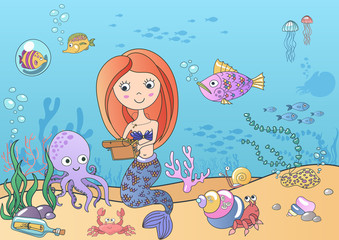 Vector Beautiful cute little siren mermaid with treasure swimming underwater with fishes and octopus. Hand drawn illustration.