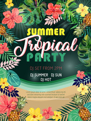 Summer tropical party design poster or flyer.