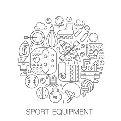 Sport equipment in circle - concept line illustration for cover, emblem, badge. Sport fitness equipment thin line stroke icons set.