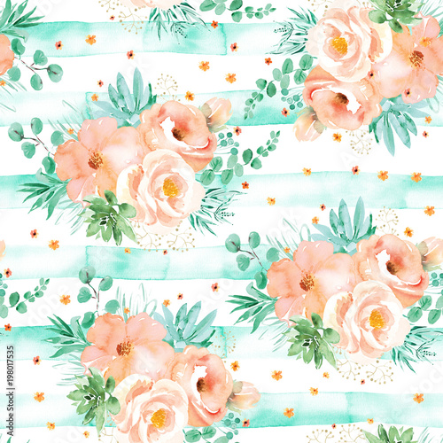 """Watercolor floral seamless pattern in soft pink mint ..."