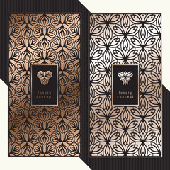 Luxury cards. Vector menu concept with floral pattern. Premium packaging design with golden logo.