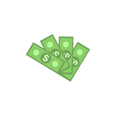 Fan of green dollar paper banknotes isolated on white background. Flat money concept for finance and banking theme banner or card. Vector illustration.
