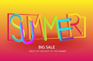 retro style summer text sale, discount poster, banner color background template. Illustration with simple abstract geometric patterns. Promo retail advertising design layout