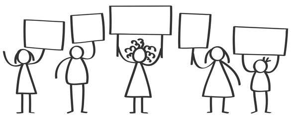 Vector group of protesting stick figures, men and women standing and holding up blank boards isolated on white background