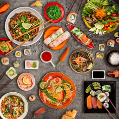 Various of asian meals on rustic background , top view.